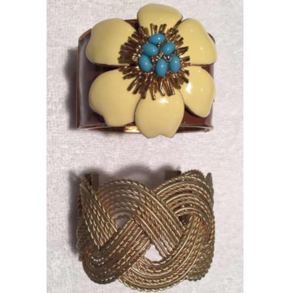 J. Crew Jewelry - J Crew Bracelets Set Copper, Gold, Braid, Flower
